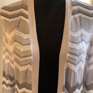 Chico's Sweaters - Chico's Grey White Lustrous Chevron Duster EUC
